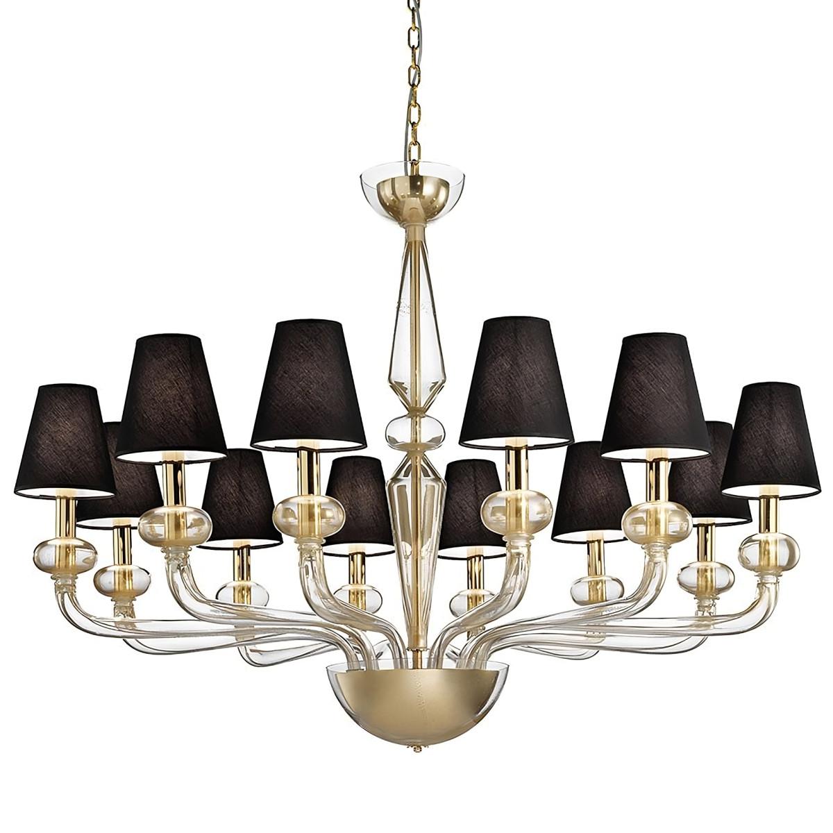 """""""Caligola"""" lampara de araña de Murano - 12 luces, oro"""