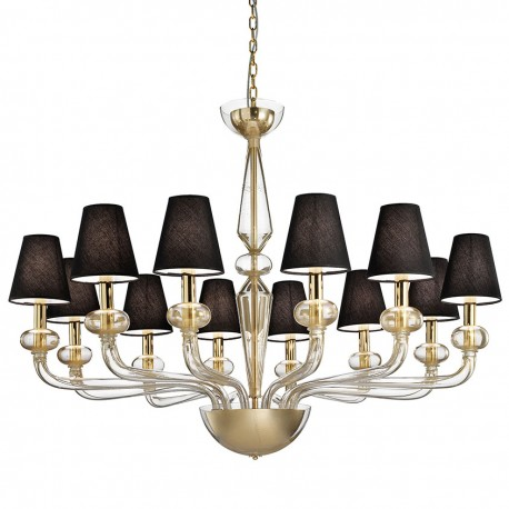 """Caligola"" Murano glass chandelier - 12 lights, gold"