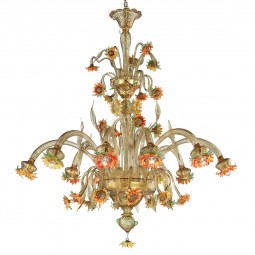 """Girasole"" large Murano glass chandelier - 10 lights, amber, orange and green"