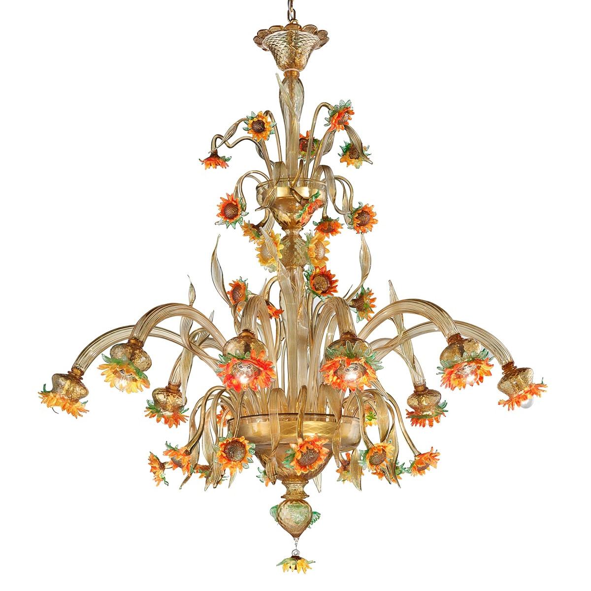 """Girasole"" grande lampara de cristal de Murano - 10 luces , ámbar, naranja y verde"