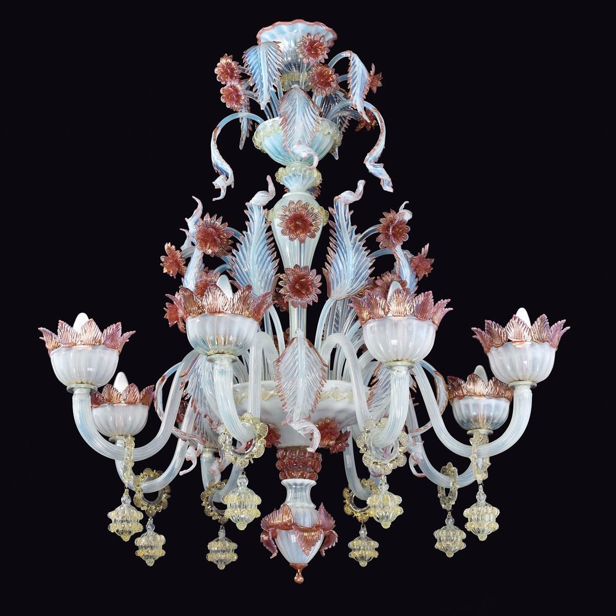 """Malia"" lustre en verre de Murano - 8 lumiers"