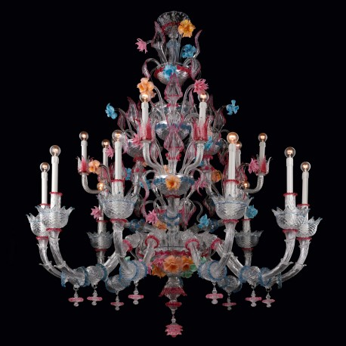 """Romantico"" lampara de cristal de Murano - 15 luces"