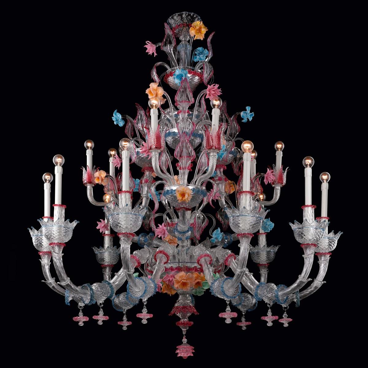 """""""Romantico"""" lustre en verre de Murano - 15 lumieres"""
