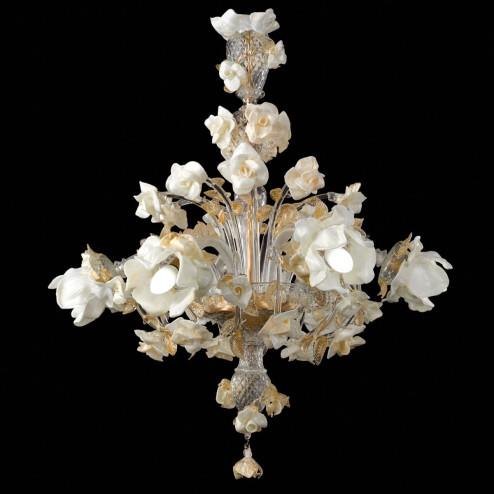 """""""Rose bianche"""" lustre en verre de Murano"""