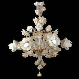 """Rose bianche"" Murano chandelier"