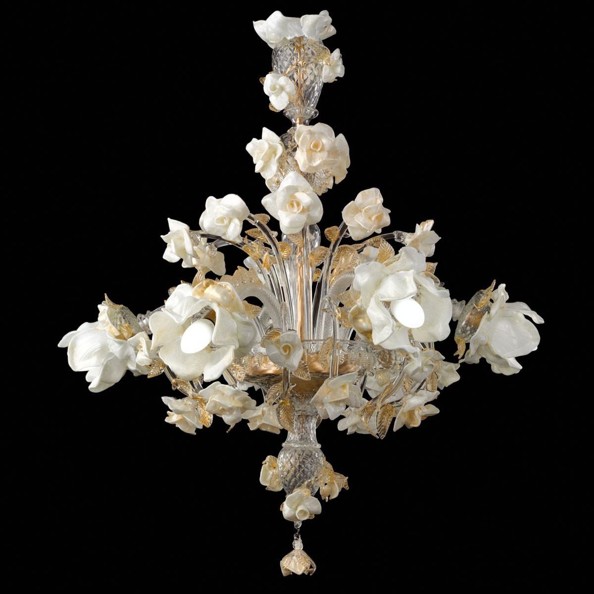 """Rose bianche"" lustre en verre de Murano - 6 lumieres"