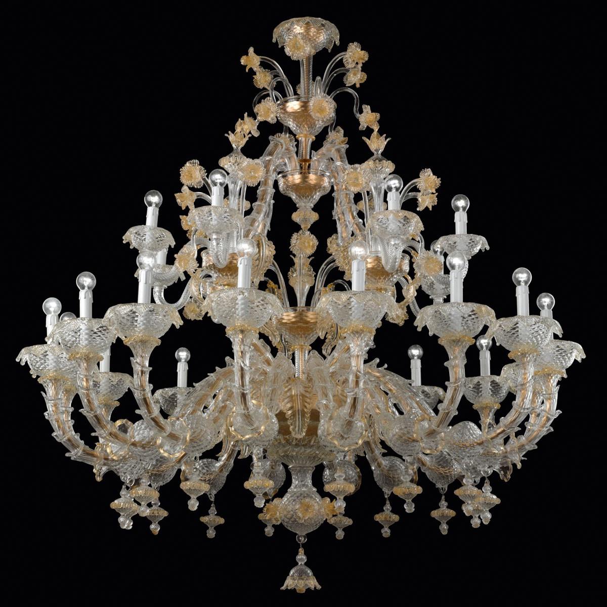 """""""Reale"""" lampara de araña de Murano - 24 luces"""