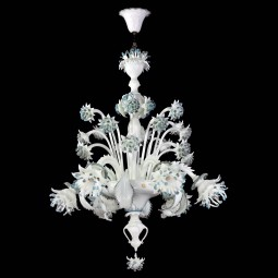 """Fiordilatte"" Murano glass chandelier - 6 lights"