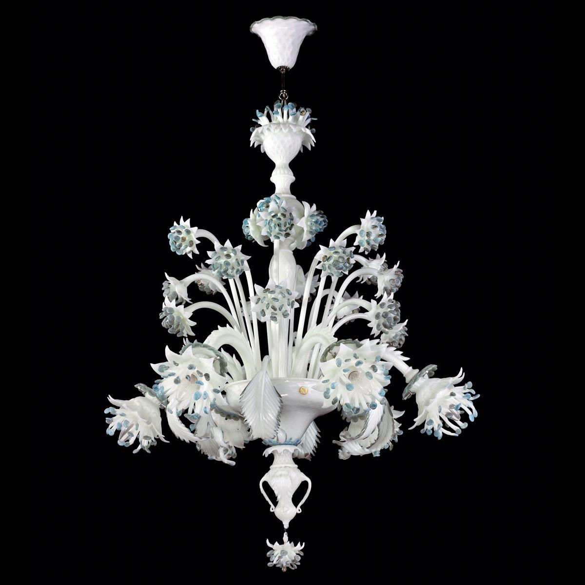 """Fiordilatte"" lustre en verre de Murano - 6 lumieres"