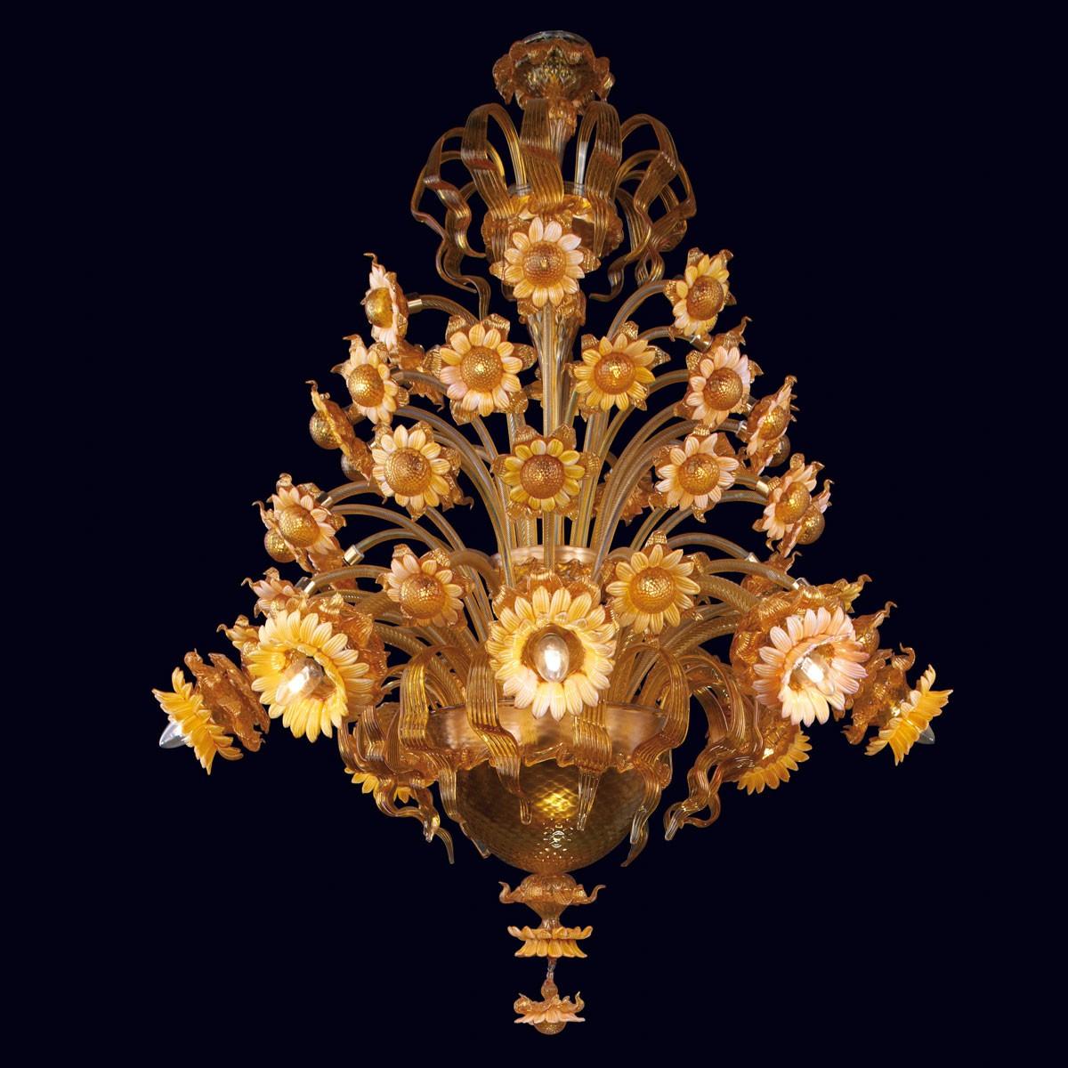 """""""Daisy"""" lustre en verre de Murano - 8 + 24 lumieres"""
