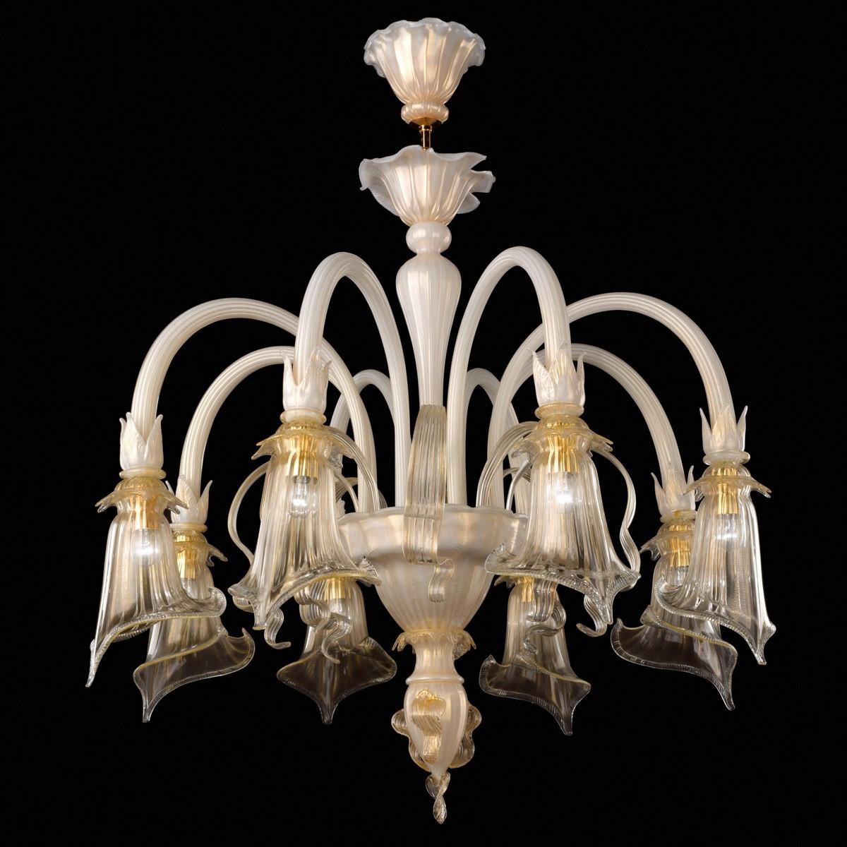 """""""Bianca"""" lustre en verre de Murano - 8 lumieres"""