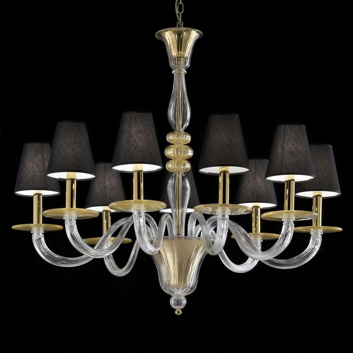 """""""Leda"""" lampara de cristal de Murano - 9 luces - transparente y oro"""