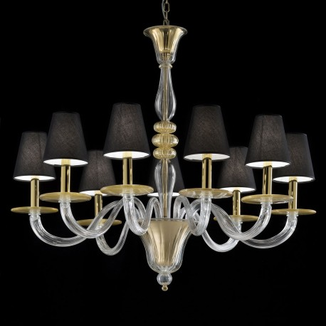 """Leda"" Murano glass chandelier - 9 lights - transparent and gold"