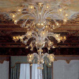 """Emilia"" Murano glass chandelier - 4+8+12 lights - transparent and gold"