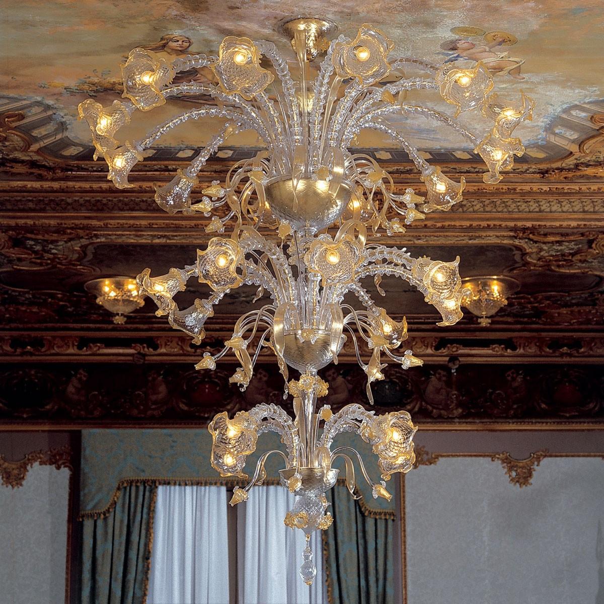 """""""Emilia"""" lampara de araña de Murano - 4+8+12 luces - transparente y oro"""
