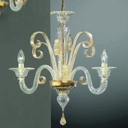 Goldoni 3 lights Murano chandelier transparent gold color