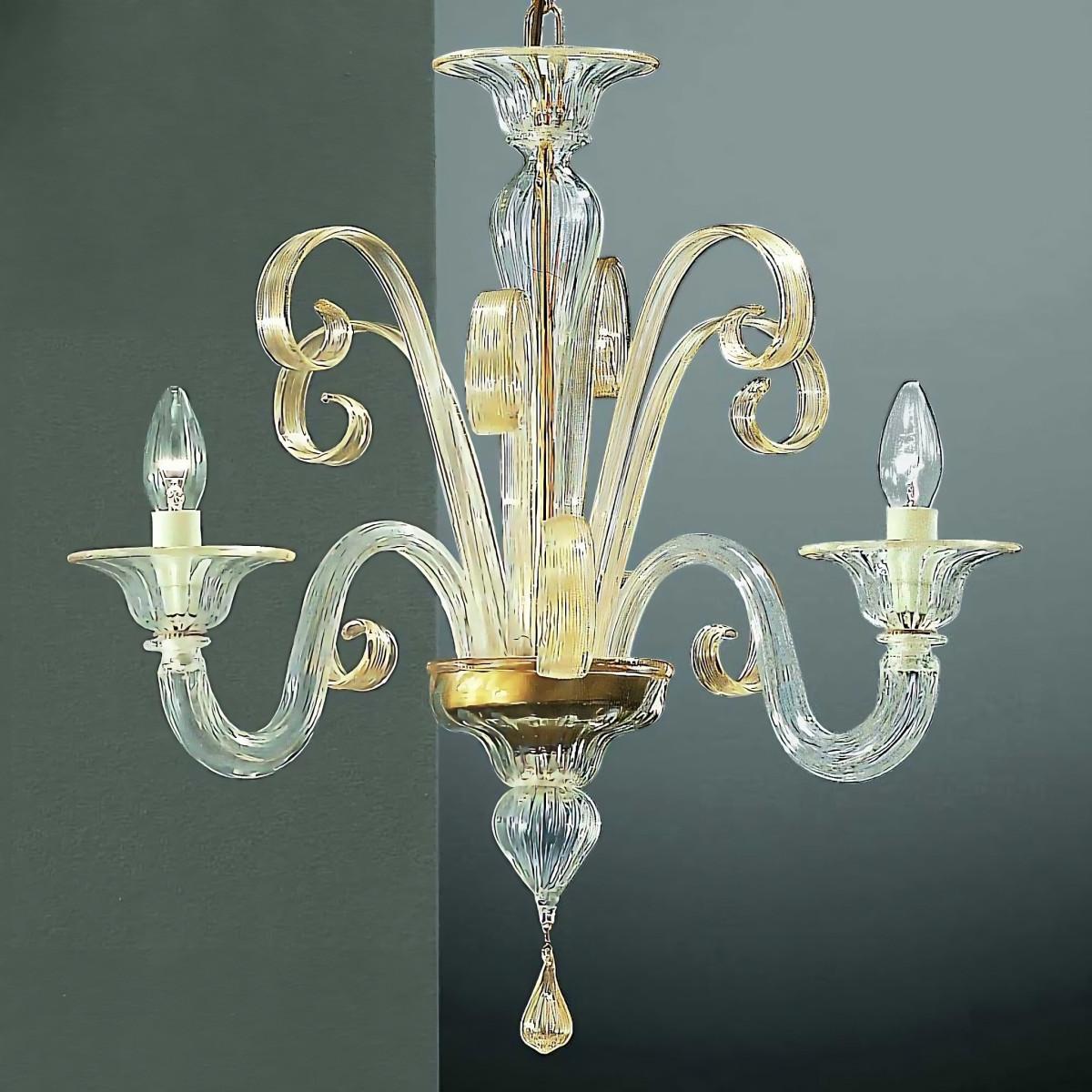 Goldoni 3 flammig Murano Kronleuchter - transparente Gold Farbe