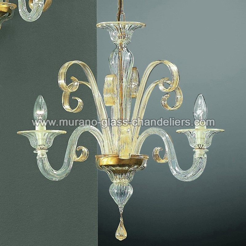 "Small Murano Crystal Chandelier: ""Goldoni"" Small Murano Glass Chandelier"