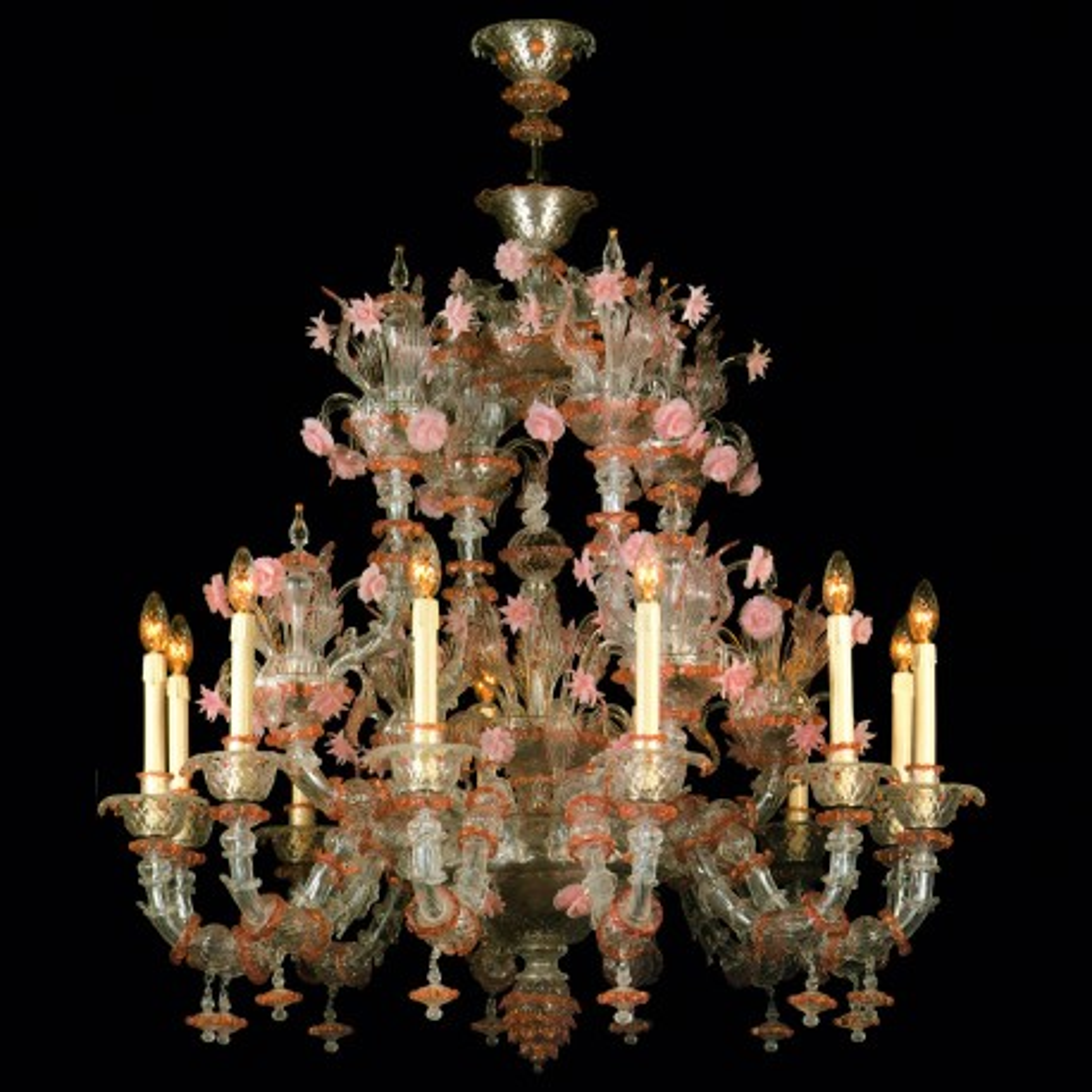 """Charlotte"" lustre en verre de Murano - 12 lumieres"