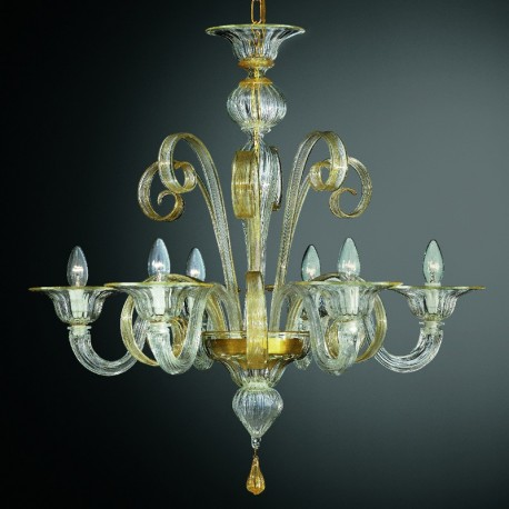 Goldoni 6 lights Murano chandelier - transparent gold color