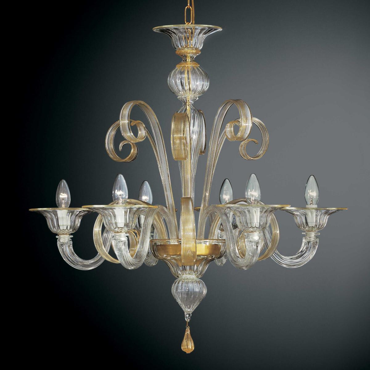 Goldoni 6 flammig Murano Kronleuchter - transparente Gold Farbe
