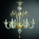 Goldoni 12+6 lights Murano chandelier - amber color