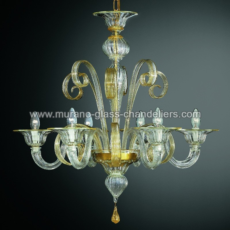 "Small Murano Crystal Chandelier: ""Goldoni"" Murano Glass Chandelier"