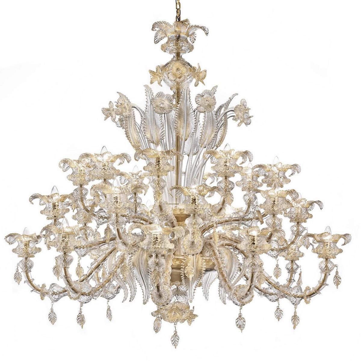 """Prezioso"" grand lustre Murano - 8+8+8 lumieres - transparent et or"