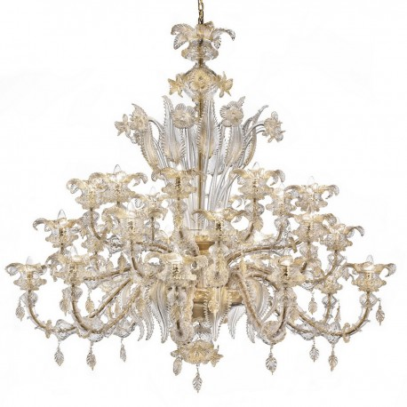 """Prezioso"" large Murano glass chandelier - 8+8+8 lights - transparent/gold color"