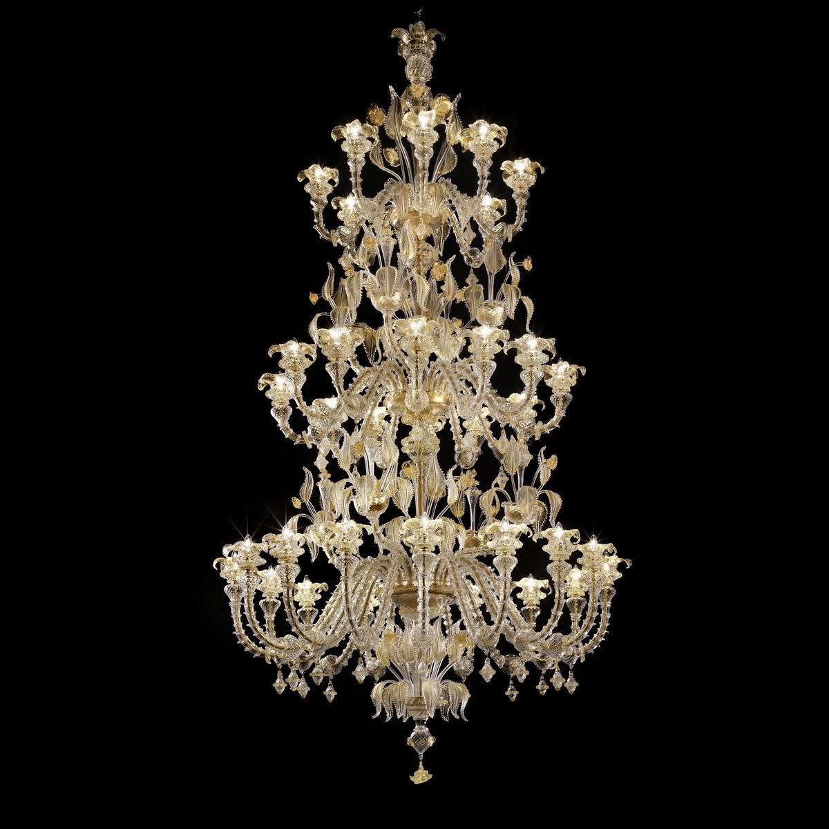 """""""Prezioso"""" lustre Murano à trois niveaux - 16+12+8 lumieres - transparent et or"""