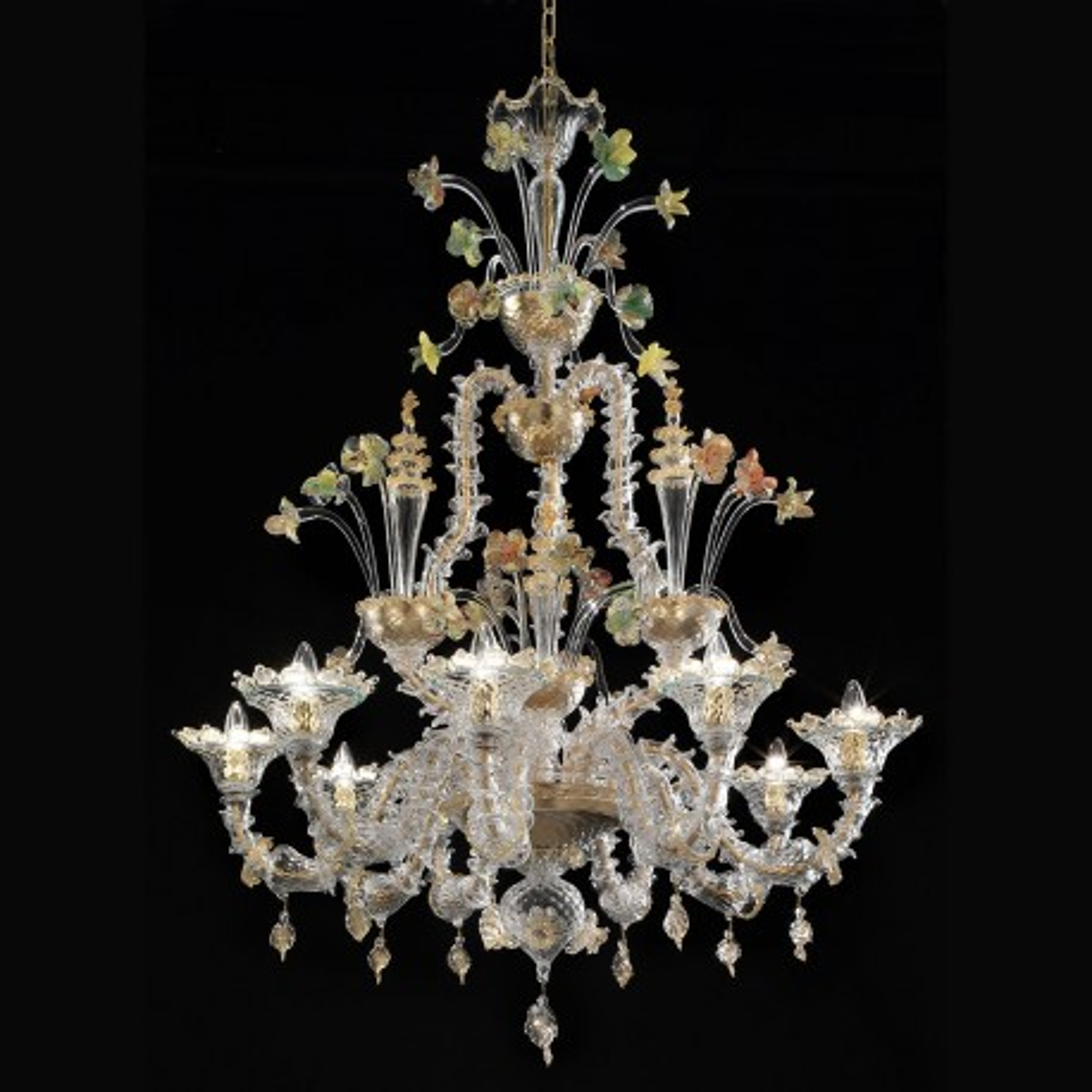 """""""Santa Caterina"""" lampara de cristal de Murano - 9 luces - transparente oro policromo"""