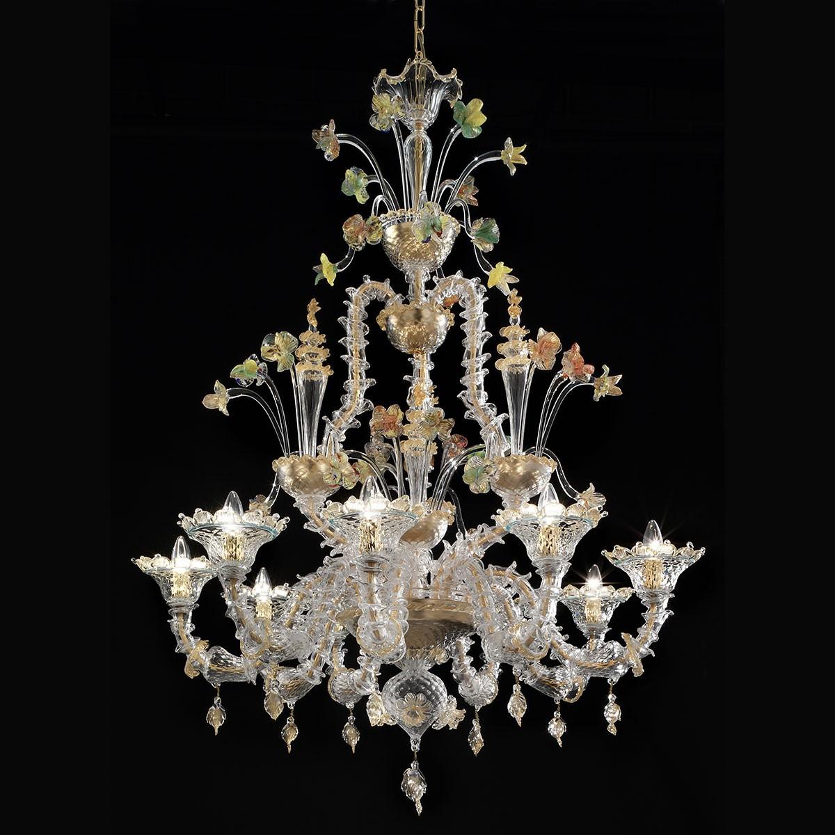 """""""Santa Caterina"""" lustre en cristal de Murano - 9 lumieres - transparent or et polychrome"""