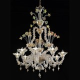 """Santa Caterina"" Murano glass chandelier - 9 lights - transparent gold polychrome"