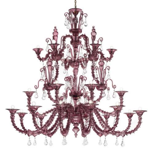 """""""Altea"""" lustre en verre de Murano - 12+6+6 lumieres- amethyste"""
