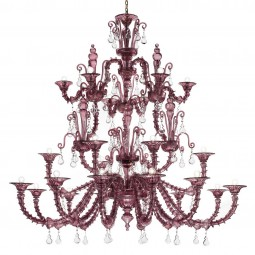 """Altea"" Murano glass chandelier - 12+6+6 lights - amethyst"