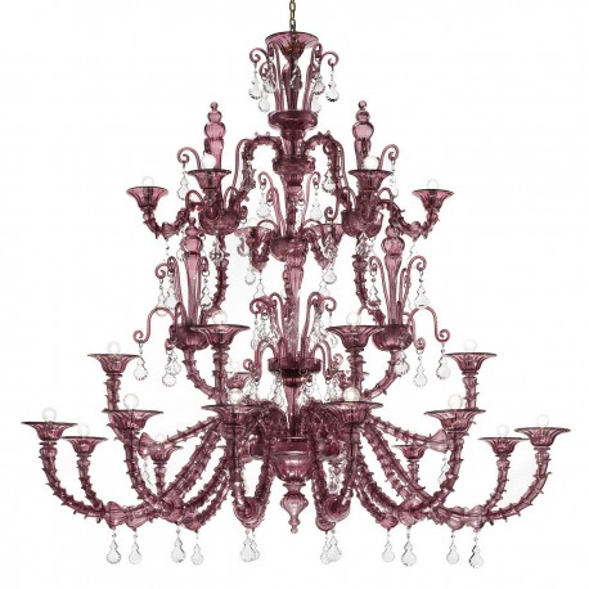 """Altea"" lampara de cristal de Murano - 12+6+6 luces- amatista"
