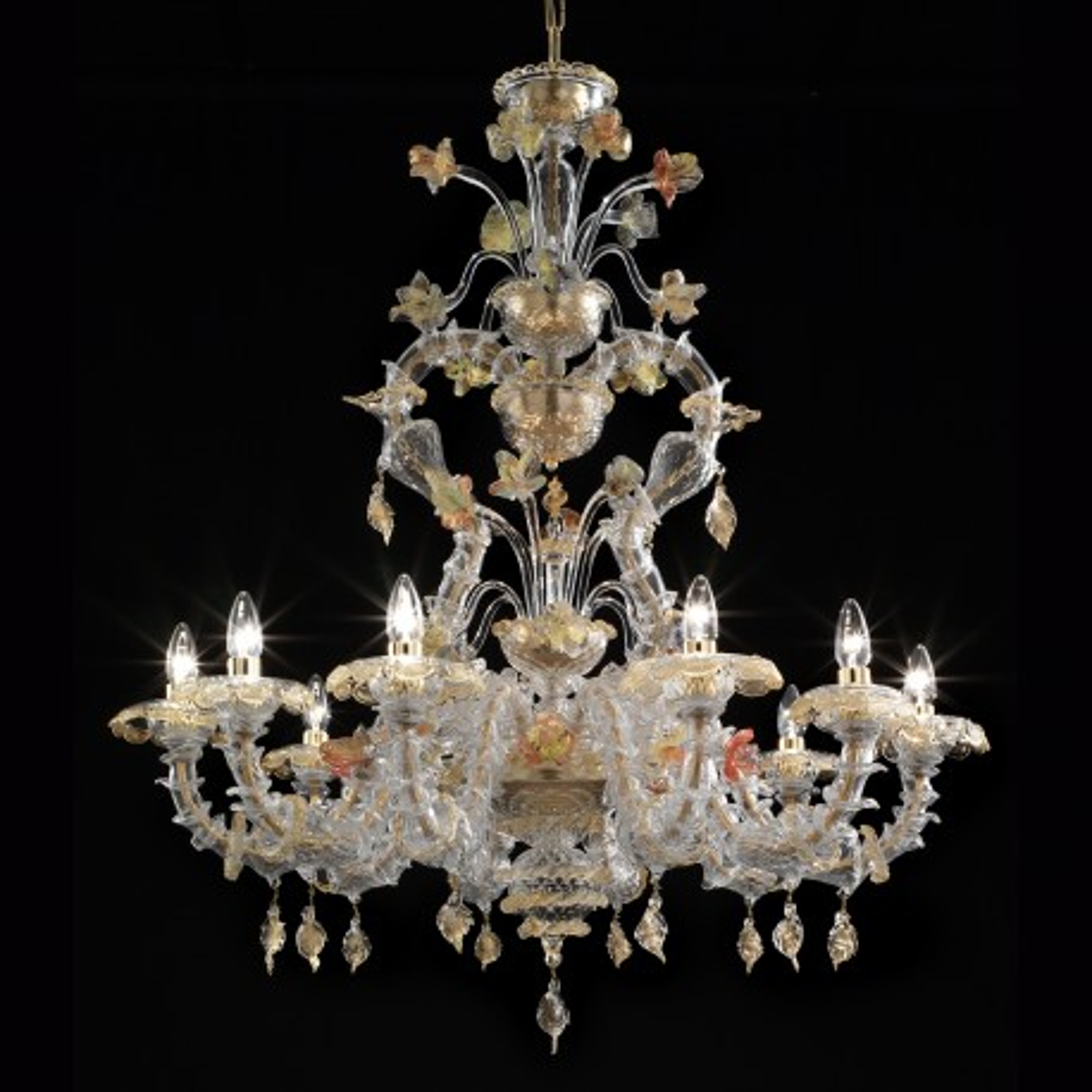 Fondaco 10 flammig Murano Kronleuchter - transparent Gold vielfarbig