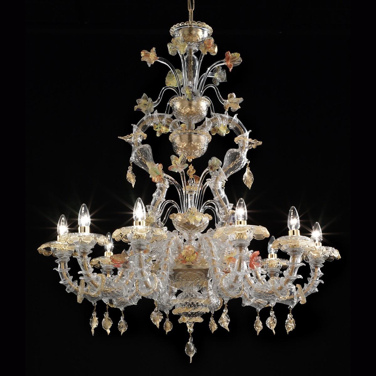 Fondaco 10 lights Murano chandelier - transparent gold polychrome