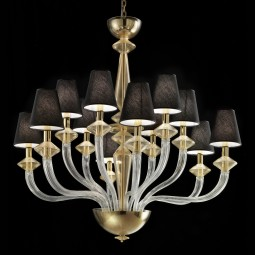 """Keira"" Murano glass chandelier - 6+6 lights, transparent and gold"