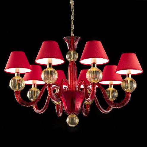 """""""Amalia"""" lampara de cristal de Murano - 8 luces - rojo y ambar"""