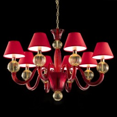 """""""Amalia"""" lustre en verre de Murano - 8 lumieres - rouge et ambre"""