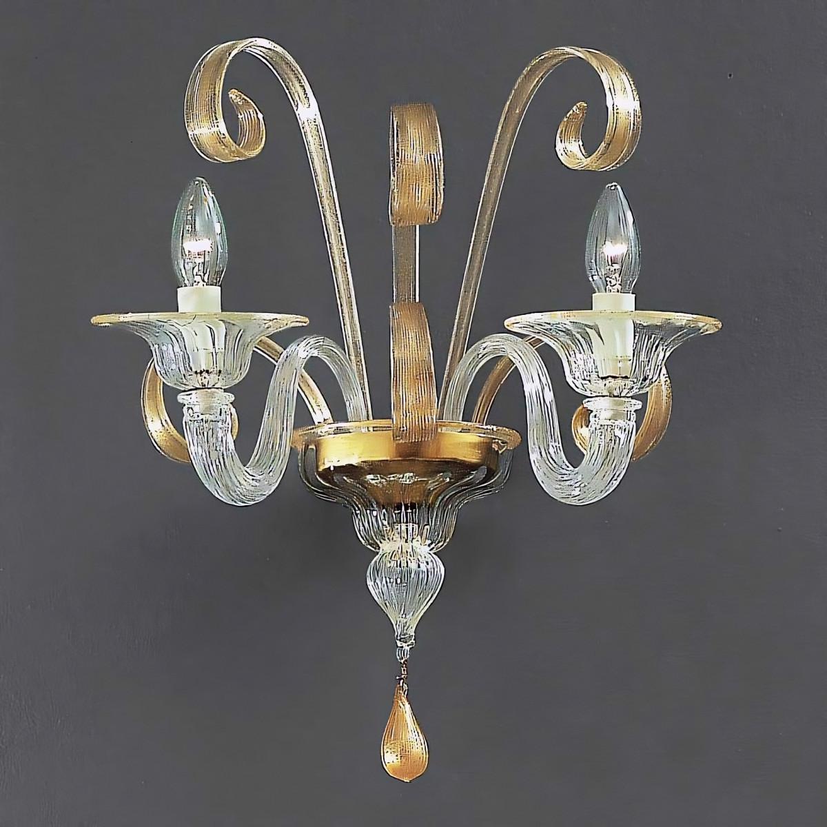 Goldoni 2 luces aplique de Murano - color transparente oro