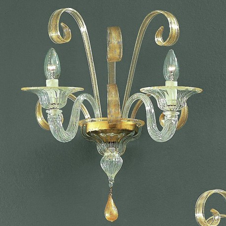 Goldoni 2 Lights Murano Sconce Transpa Gold Color