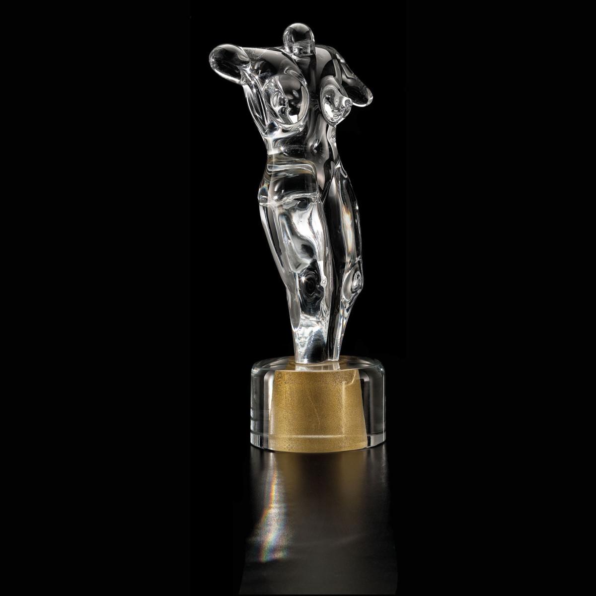 """""""Afrodite"""" escultura en cristal de Murano - transparente y oro"""