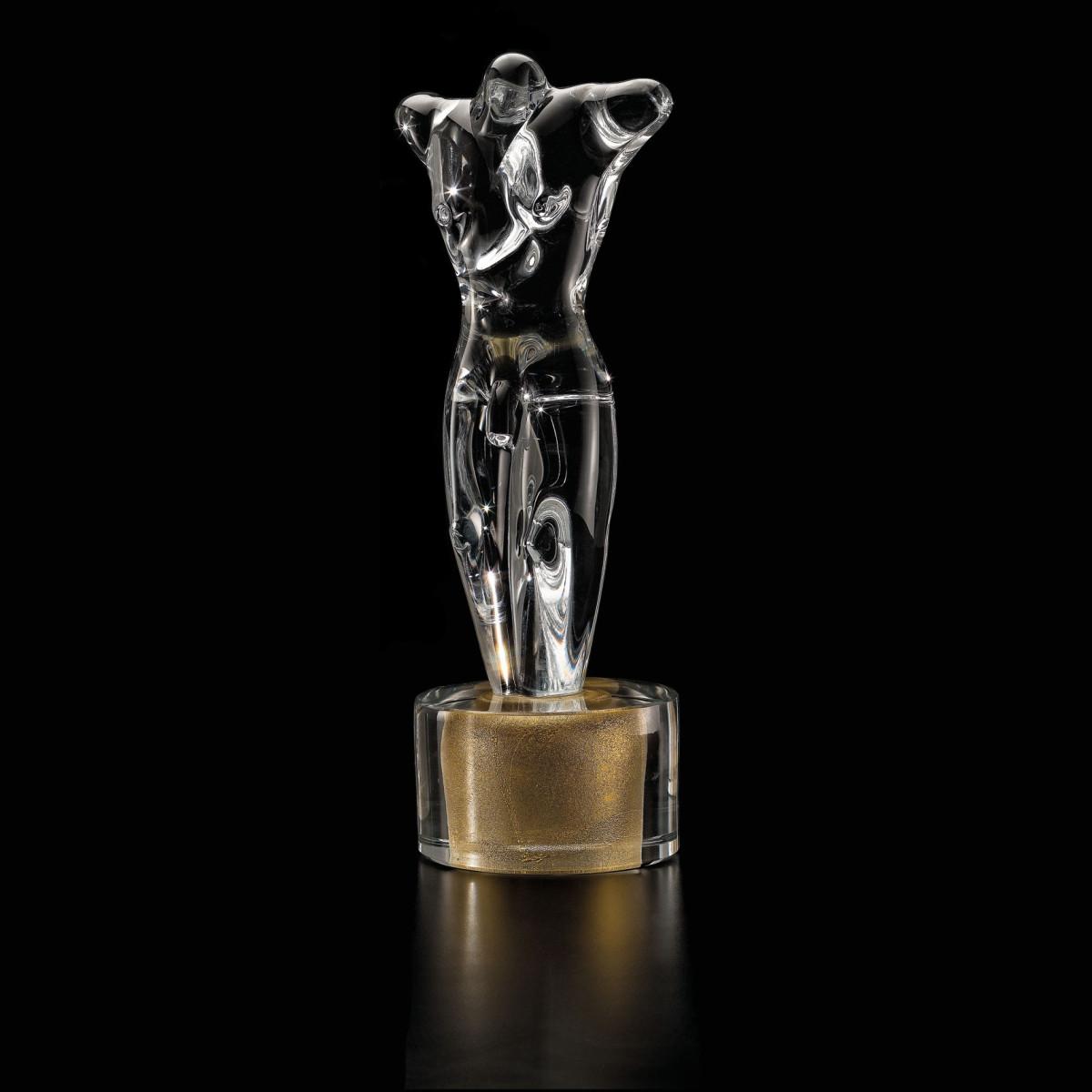 """""""Adone"""" escultura en cristal de Murano - transparente y oro"""
