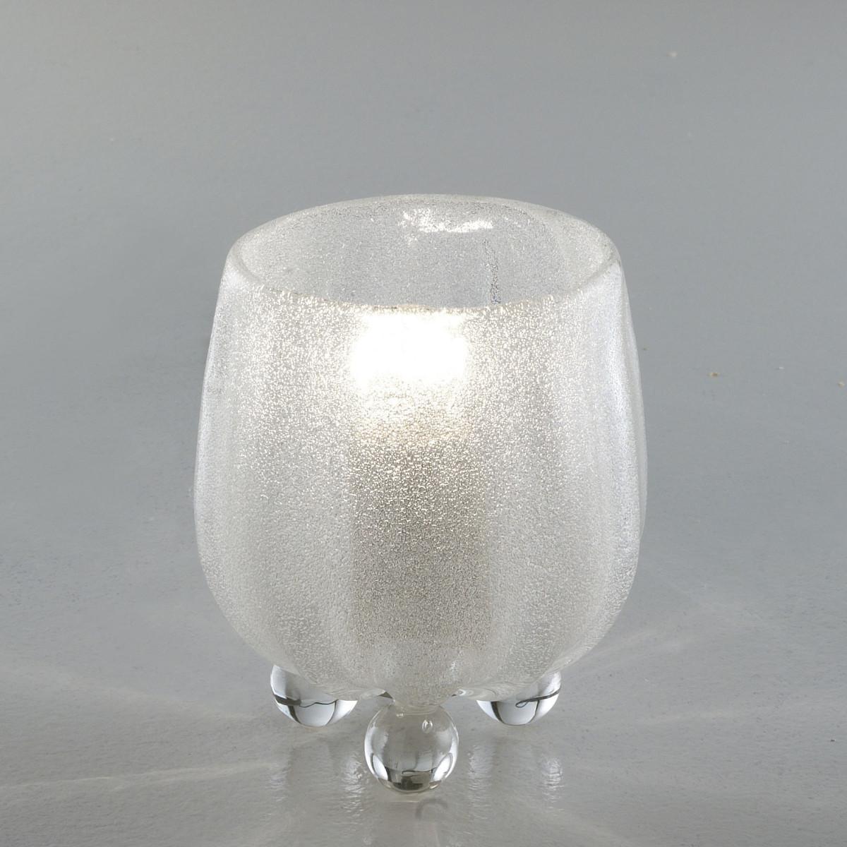 """""""Roma"""" lampe de chevet en verre de Murano - transparent grit"""