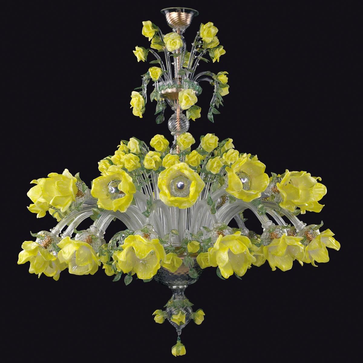 """""""Rose gialle"""" araña de cristal de Murano - 12+12 luces"""