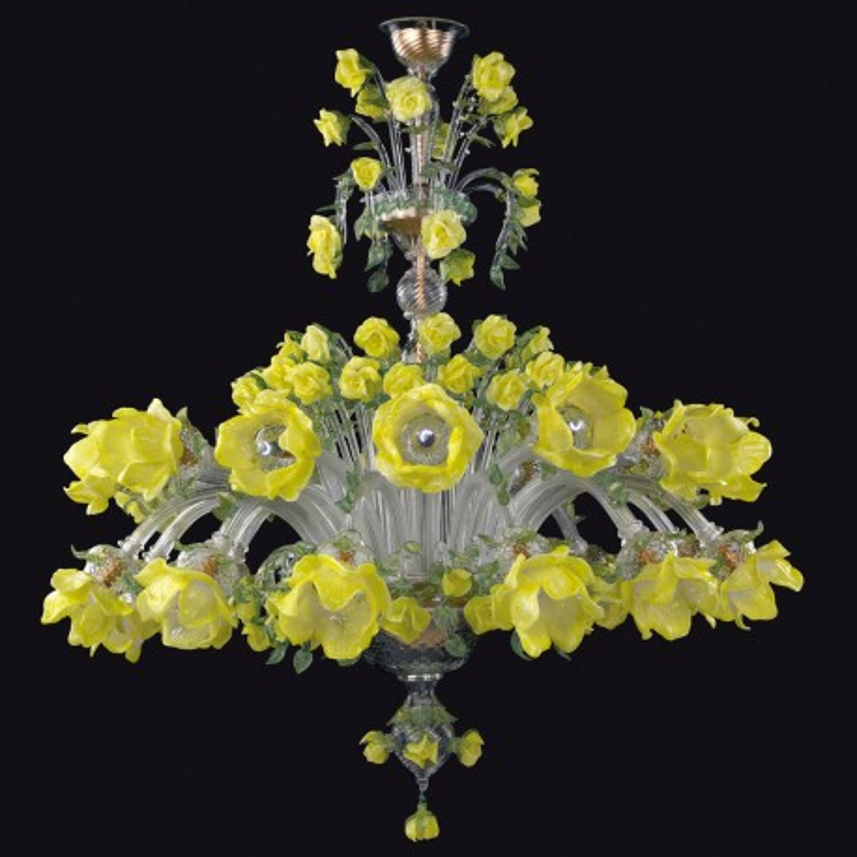 """Rose gialle"" Murano glas Kronleuchter - 12+12 flammig"
