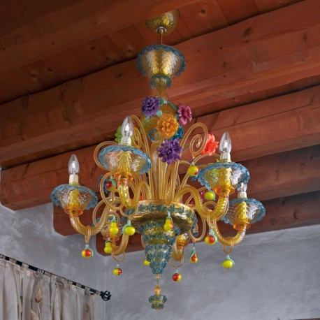 """Fruttini"" Murano glass chandelier - 6 lights"