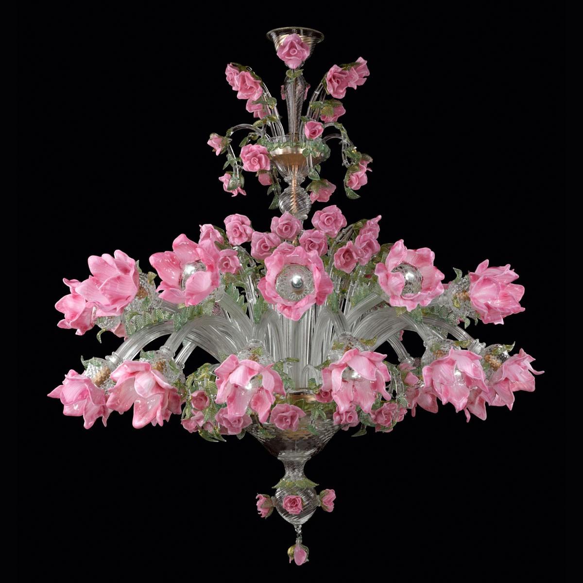 """Roseto"" lustre en verre de Murano - 12 + 12 lumieres"